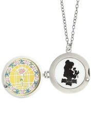Disney The Beauty & The Beast Belle Stained Glass Silhouette Locket Necklace NWT