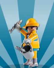 Playmobil Boy Mystery Figure Series 8 5596 Fisherman Yellow Coat Bucket Fish