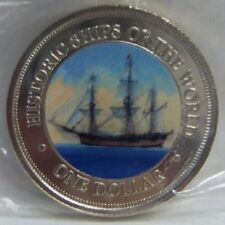 COOK ISLANDS HMS ENDEAVOUR SHIP COLOR COIN uncirculated