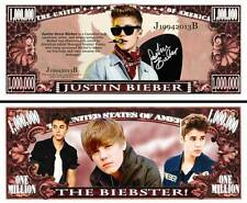 JUSTIN BIEBER ! BILLET 1 MILLION DOLLAR US ! avec Signature Collection Pop Star