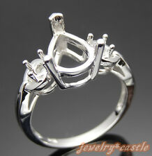 10x7MM PEAR SHAPED CUT ENGAGEMENT SEMI MOUNT RING SETTING 925 STERLING SILVER