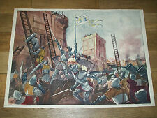 ANCIEN AFFICHE SCOLAIRE ROSSIGNOL 21/22 CHARLES VII JEANNE D'ARC CHINON ORLéANS