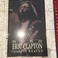 RARE ERIC CLAPTON RUSH TEARS IN HEAVEN FRAMED POSTER  23x35 Promo only 1991