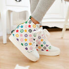 New Womens Athletic Lace Up Floral Hidden Heel Wedge Trainer Sneaker Shoes Plus
