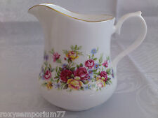 BEAUTIFUL VINTAGE QUEEN ANNE BONE CHINA MILK JUG CREAMER FLORAL RED YELLOW ROSES