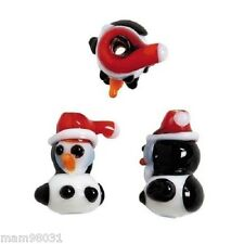 Beads ~ Glass Lampwork CHRISTMAS Holiday PENGUINS ~ 6 Each 10mm X 18mm