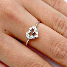 .925 Sterling Silver Ring Size 6 CZ Heart Engagement Promise Bridal Midi New x17