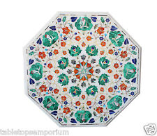 "Size 18""x18"" Marble Top Coffee Table Malachite Inlay Mosaic Christmas Home Decor"