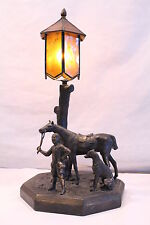 Antique Bronze Figural Scenic Lamp Statue Sculpture Horse Dog Boy Glass Shade