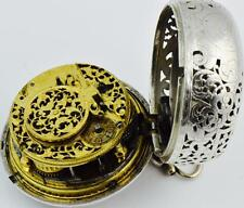 MUSEUM Renaissance Verge Fusee Repeater Oignon pierced silver pair case watch