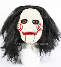 Latex Mask With Hair Billy Puppet full head halloween tobin bell jigsaw Wig