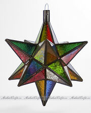 "Outdoor Moroccan Pendant Lamp - Star Shape Handmade Glass Hanging Light 14""H"