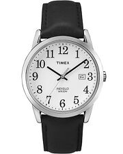 New Timex Men's Easy Reader Silver-Tone Watch, Black Leather Strap TW2P75600