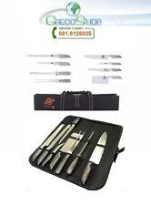 Coltelli/Coltello da cucina professionali in acciaio inox set 8 pz. in custodia.