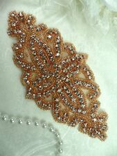 DH8 Rose Gold Applique Crystal Glass Rhinestones Beaded Bridal Sash Patch 6""