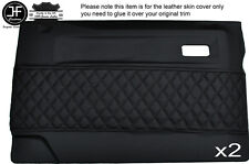 BLACK DIAMOND STITCH 2X FRONT DOOR CARD COVERS FITS LAND ROVER DEFENDER 90 110