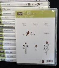 2010 Stampin Up SILHOUETTE SENTIMENTS 8 pc CLEAR MOUNT Rubber STAMP Set