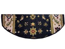 Copriscalini per scale - Fiori blu, tappeto sagomato mezzaluna con disegno damas