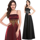 Design Straps Long SATIN Bridesmaid Evening Party Ball Gown Wedding FORMAL Dress