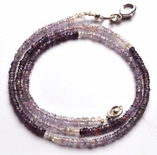 """33.40CT 16""""SUPER  NATURAL PURPLE SAPPHIRE FACETED ROUNDEL BEADS NECKLACE 2 MM"""