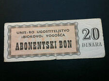 EXTRA RARRE-LOCAL NOTE- BOSNIA- 20 DINARA 1990s bons, UNIS RO- BIOKOVO- VOGOŠĆA