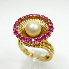 Vintage 18K Solid Yellow Gold 7.8 mm PEARL Synt Sapphire  Size 6.5 Ring