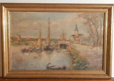 OLD antique Fine Art OIL PAINTING on Canvas vintage impressionist artwork framed