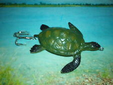 "CRAFTED / 4"".TOP WATER LIGHT GREEN TURTLE. WEEDLESS #5  HOOK / MUSKY PIKE LURE !"