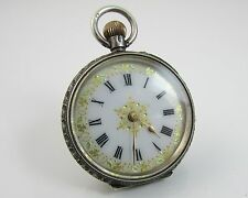 Ornate Silver Fob Pocket Watch London 1927 Swiss Enamel