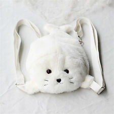 Lolita Girl White Seal Animal Soft Doll Toy Plush Backpack Shoulders Bag Kawaii