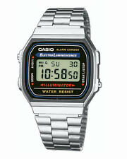 Casio Unisex Classic Retro Reloj Digital En Acero Inoxidable Alarma, a168wa-1yes