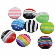 200pcs Mixed Color Round Stripe Resin Flatback Embellishments Fit Stick-on BS