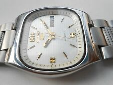 Rare Vintage TV Dial Silver Seiko 5 Mens Automatic Day Date WristWatch