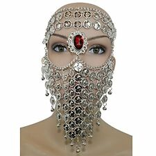 Silver Red Gem Belly Dance Costume Headwear Coins Face Mask Veil Tribal Bedou...