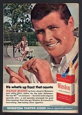 1961 Winston Cigarette Ad ~ Tennis Players On The Court ~ Tobacco