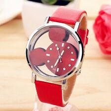 Women Leather Steel Watch Mickey Cartoon Dress Business Wrist Watches Red
