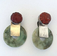 Vintage Modernist REBECCA COLLINS Sterling Silver Jade & Baltic Amber Earrings