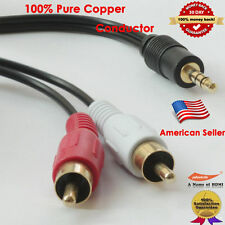 6FT Aux Cord Stereo Audio Cable 3.5mm Male Mini to 2-RCA Male Audio Y-Cable iPod