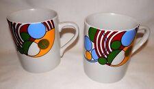 """Tiffany & Co """"Cabaret"""" Mug Set of 2 PAIR Frank Lloyd Wright 1987"""