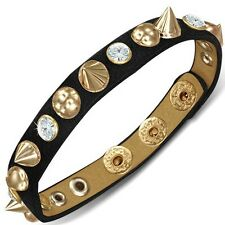 Black Leather Gold White Crystals CZ Spikes Snap Wristband Adjustable Bracelet