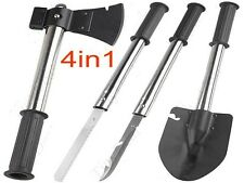 4 in 1 Survival Knife Shovel Axe Saw Gut Camping Hiking Emergency Gear Kit Tools