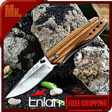 Folding Knife ENLAN M011 Wooden handle 8Cr13MoV | Navaja plegable ENLAN M-011