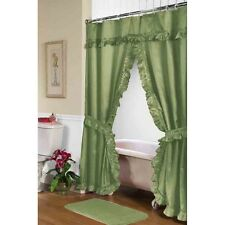 Carnation Home Fashions Lauren Double Swag Shower Curtain, Sage Fscd-L/42 New