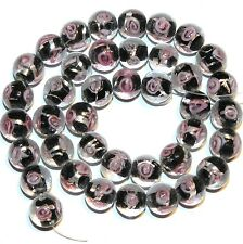 G3537p Clear & Black Silver Foil Lined & Pink Rose 10mm Round Glass Beads 15.7""