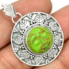 Face - Copper Green Turquoise 925 Sterling Silver Pendant Jewelry SP207033