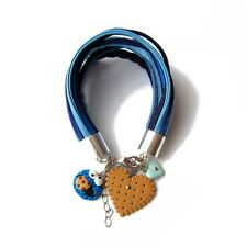 Leather Strap Charm Statement Cookie Monster Blue Brown Heart Bracelet Gift Idea