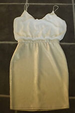 LADIES BNWOT TFNC ASOS M WHITE SILVER COCKTAIL PARTY STRAPPY DRESS UK 12 EUR 40