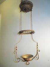 Antique Vintge Brass VICTORIAN Hanging Oil Lamp Chandelier Parts Hanger Pulley