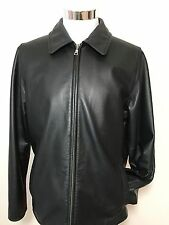 EDDIE BAUER Black Leather Jacket Men's Sz L
