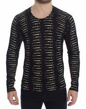 NWT $900 DOLCE & GABBANA Black Wool Sword Print Crewneck Sweater Top IT50 / L